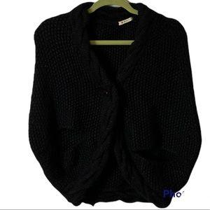 Sol Baby Alpaca Black Cape Sweater Size Small
